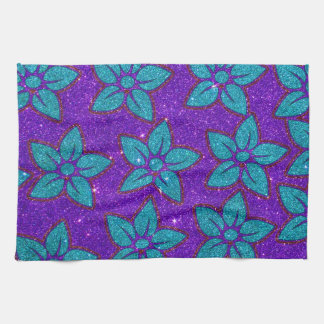 Purple and Teal Glitter Flower Pattern Tea Towel
