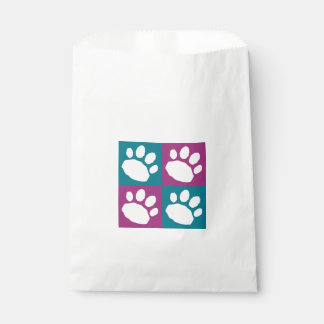Purple and Teal Paw Print Checkerboard Doggie Bag