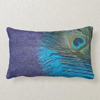 Purple and Teal Peacock Lumbar Cushion