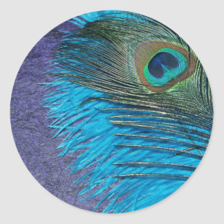 Purple and Teal Peacock Round Sticker