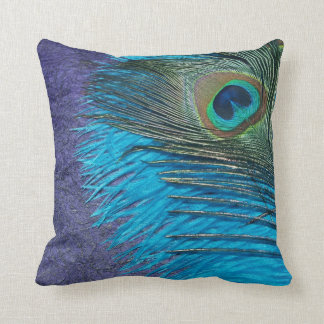Purple and Teal Peacock Throw Pillow