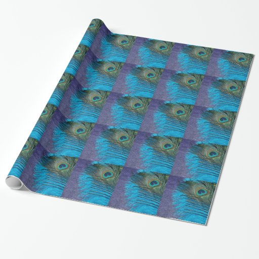 Purple and Teal Peacock Gift Wrapping Paper