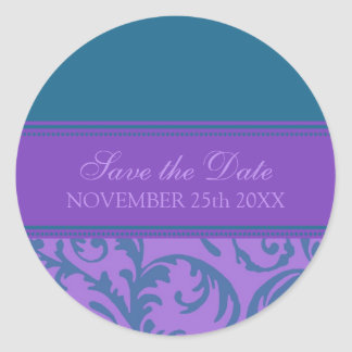 Purple and Teal Save the Date Envelope Seal Round Sticker