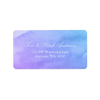 Purple and Teal Watercolor Address Label