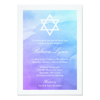 Purple and Teal Watercolor Bat Mitzvah 13 Cm X 18 Cm Invitation Card