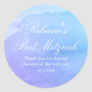 Purple and Teal Watercolor Bat Mitzvah Favor Round Sticker