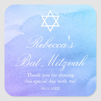 Purple and Teal Watercolor Bat Mitzvah Favor Square Sticker