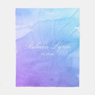 Purple and Teal Watercolor Bat Mitzvah Fleece Blanket