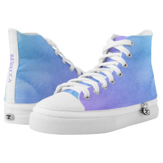 Purple and Teal Watercolor Bat Mitzvah High Tops