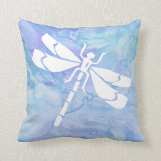 Purple And Teal Watercolor Dragonfly Throw Pillow