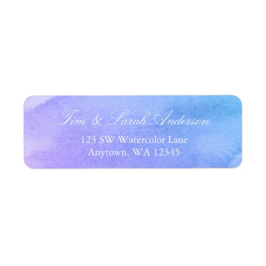 Purple and Teal Watercolor Return Address
