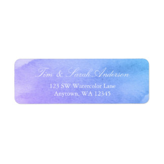 Purple and Teal Watercolor Return Address Return Address Label