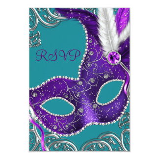 Purple and Turquoise Blue Masquerade Party RSVP 9 Cm X 13 Cm Invitation Card