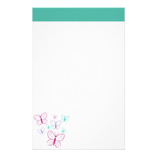 Purple and Turquoise Butterflies Stationery
