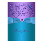 Purple and Turquoise Floral Wedding Enclosure Card
