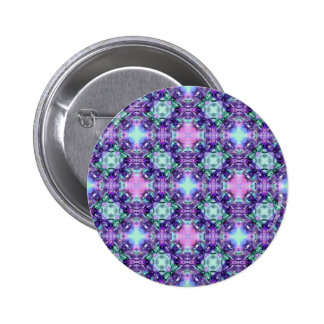 Purple and Turquoise Hippy Fractal Pattern Pin