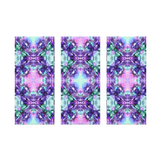 Purple and Turquoise Hippy Fractal Pattern Stretched Canvas Print
