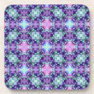 Purple and Turquoise Hippy Fractal Pattern Coaster