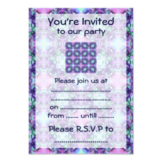 """Purple and Turquoise Hippy Fractal Pattern 5"""" X 7"""" Invitation Card"""