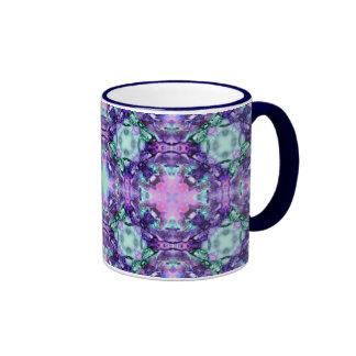Purple and Turquoise Hippy Fractal Pattern Coffee Mug