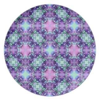 Purple and Turquoise Hippy Fractal Pattern Plates