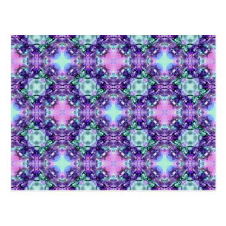 Purple and Turquoise Hippy Fractal Pattern Postcard