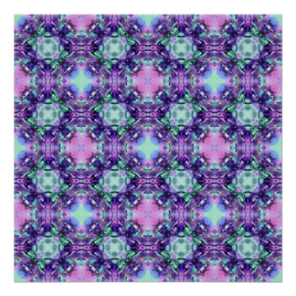 Purple and Turquoise Hippy Fractal Pattern Posters