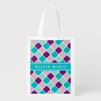 Purple and Turquoise Lattice Pattern with Name Reusable Grocery Bag