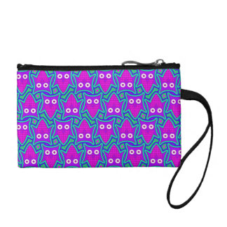Purple and Turquoise Psychedelic Owl Pattern Coin Purse