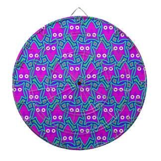 Purple and Turquoise Psychedelic Owl Pattern Dartboard