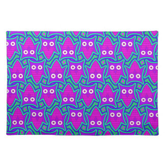 Purple and Turquoise Psychedelic Owl Pattern Placemat