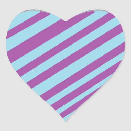 Purple and Turquoise Stripey Heart Heart Sticker