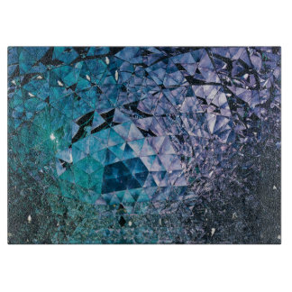 Purple and turquoise, TRIANGLE and reflections Cutting Board
