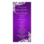 Purple and Vintage Floral Lace Wedding Program Rack Card Template