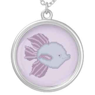 Purple and Violet Tropical Fish Necklace