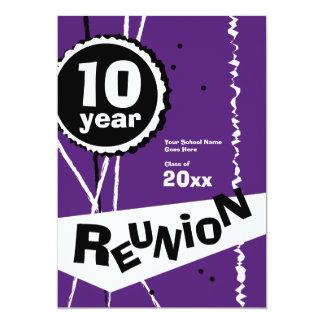 Purple and White 10 Year Class Reunion Invitation