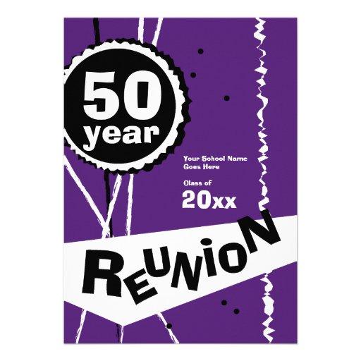 Purple and White 50 Year Class Reunion Invitation