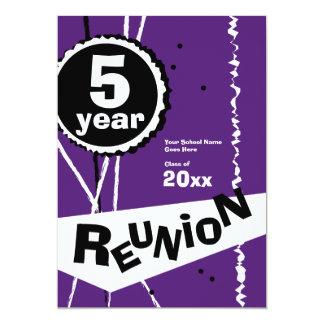 Purple and White 5 Year Class Reunion Invitation
