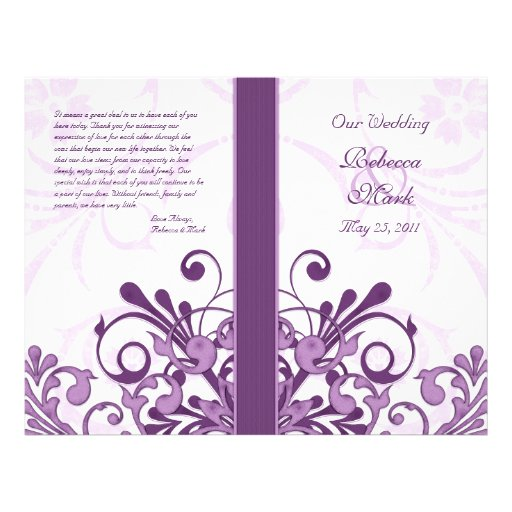 Purple and White Abstract Floral Wedding Program Flyer