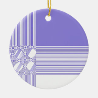 Purple and White Abstract Pattern Round Ceramic Decoration
