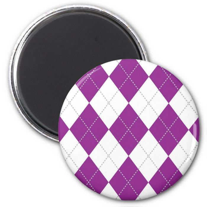Purple and White Argyle Pattern 6 Cm Round Magnet