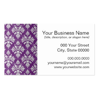 Purple and White Artichoke Damask Design Business Cards