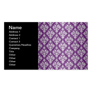 Purple and White Artichoke Damask Design Pack Of Standard Business Cards