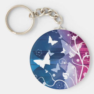 Purple and White Butterflies and Flowers Keychain