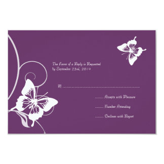 Purple and White Butterfly Wedding RSVP 9 Cm X 13 Cm Invitation Card