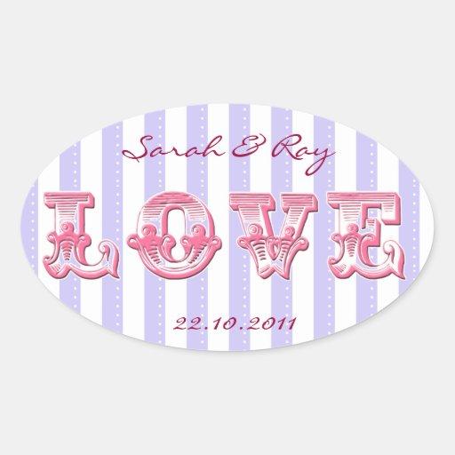 Purple and white Candy stripe love sticker