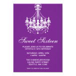 Purple and White Chandelier Sweet Sixteen Birthday Personalised Announcement
