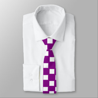Purple and White Checkered Skinny Tie