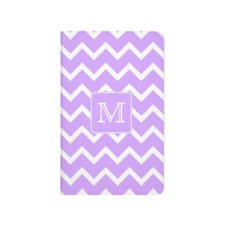 Purple and White Chevron Design. Custom Monogram. Journal