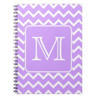 Purple and White Chevron Design. Custom Monogram. Notebook